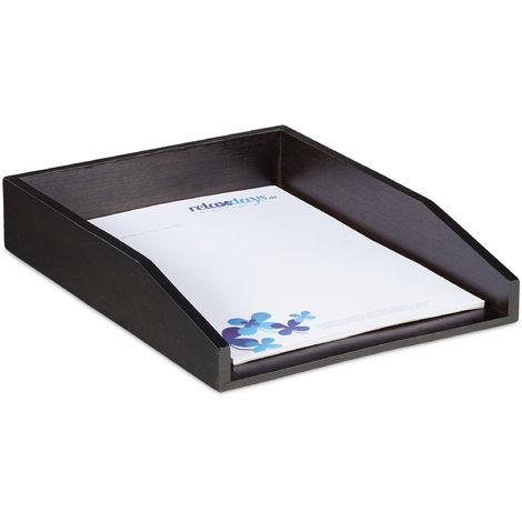 Corbeille à Courrier Empilable, Papier Format A4, Bureau, Range-Documents & Lettres, Bambou, 6x25x33cm, Brun