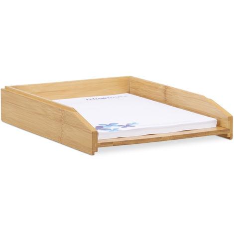Corbeille à Courrier Empilable, Papier Format A4, Bureau, Range-Documents & Lettres, Bambou, 6x25x33cm, Nature