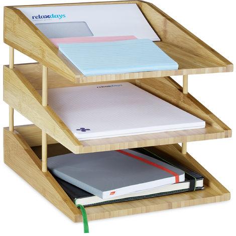 Corbeille à Courrier Empilable, Papier Format A4, Bureau, Range-Documents & Lettres, Bambou, Nature, 3 niveaux