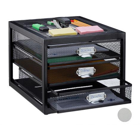 Corbeille à courrier porte-documents organiseur porte-revues 3 tiroirs compartiments format A4, noir