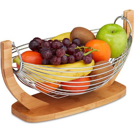 Corbeille à fruits Hamac bambou, barres inox, Balançoire, design grille déco,18,5 x 38 x 23 cm, nature/argent