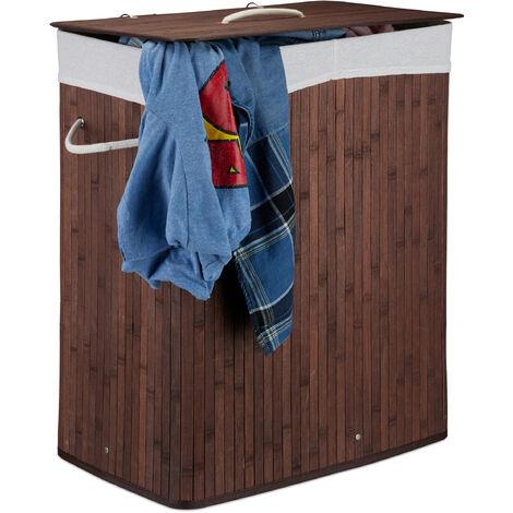 Corbeille à linge bambou, Panier à linge 2 compartiments, coffre pliable couvercle 95 litres, marron
