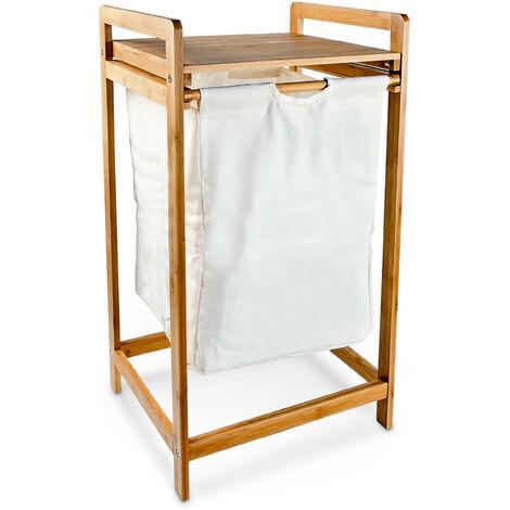 corbeille linge panier linge en bambou avec sac en. Black Bedroom Furniture Sets. Home Design Ideas