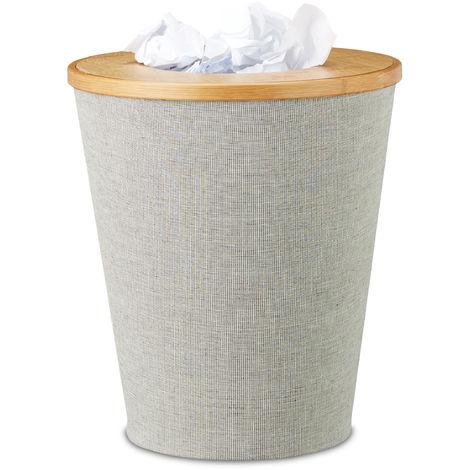 Corbeille à papier en bambou poubelle ronde seau intérieur plastique couvercle bureau 35 cm, nature, gris