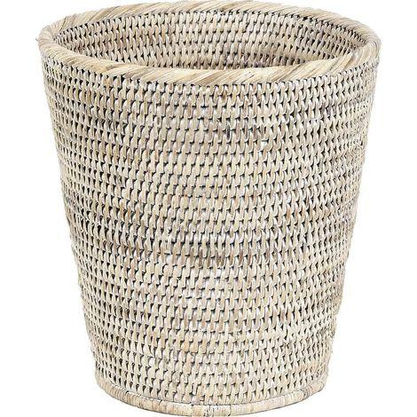 Corbeille à papier en rotin - Patiné Blanc