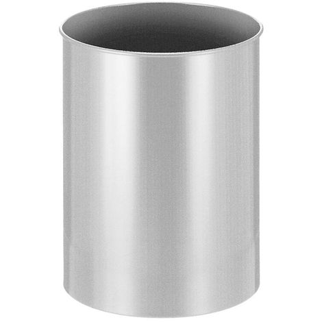 Corbeille à papier métallique ronde, capacité 30 l, hauteur 470 mm, argent
