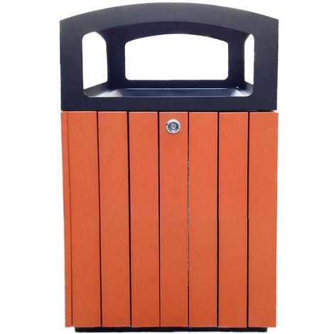 Corbeille carrée | acier-polystyrène | Revêtement époxy | Noir-orange | 70 litres | 450x450x850 | Flora | medial