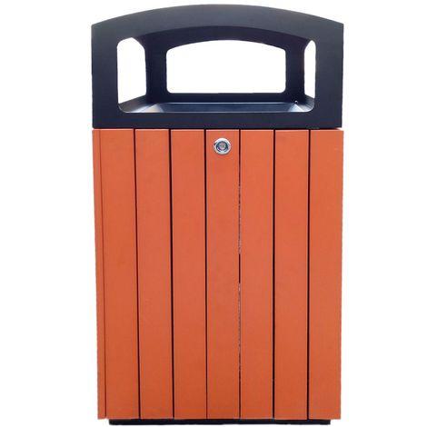 Corbeille carrée | acier-polystyrène | Revêtement époxy | Noir-orange | 90 litres | 450x450x970 | Flora | medial