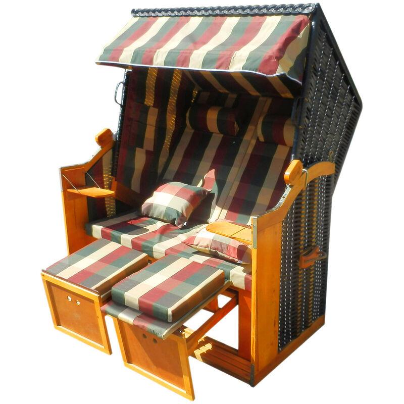 Corbeille de plage mer Baltique bois Deluxe 165x120x90cm Fauteuil-cabine - élégant, confortable - matériaux résistante - à carreaux rouge/vert/beige