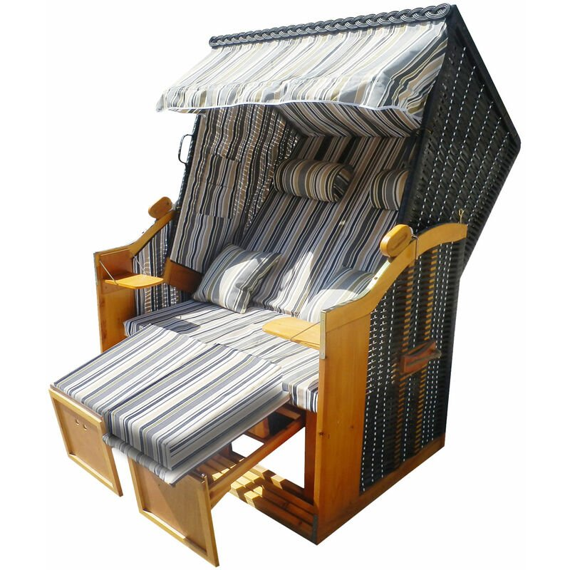 Brast - Corbeille de plage mer Baltique bois Deluxe 165x120x90cm Fauteuil-cabine - élégant, confortable - matériaux résistante - gris/bleu/olive