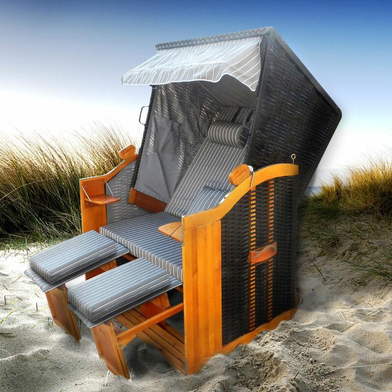 Corbeille de plage mer Baltique bois Deluxe 165x120x90cm Fauteuil-cabine - élégant, confortable - matériaux résistante - anthracite/gris rayée - de