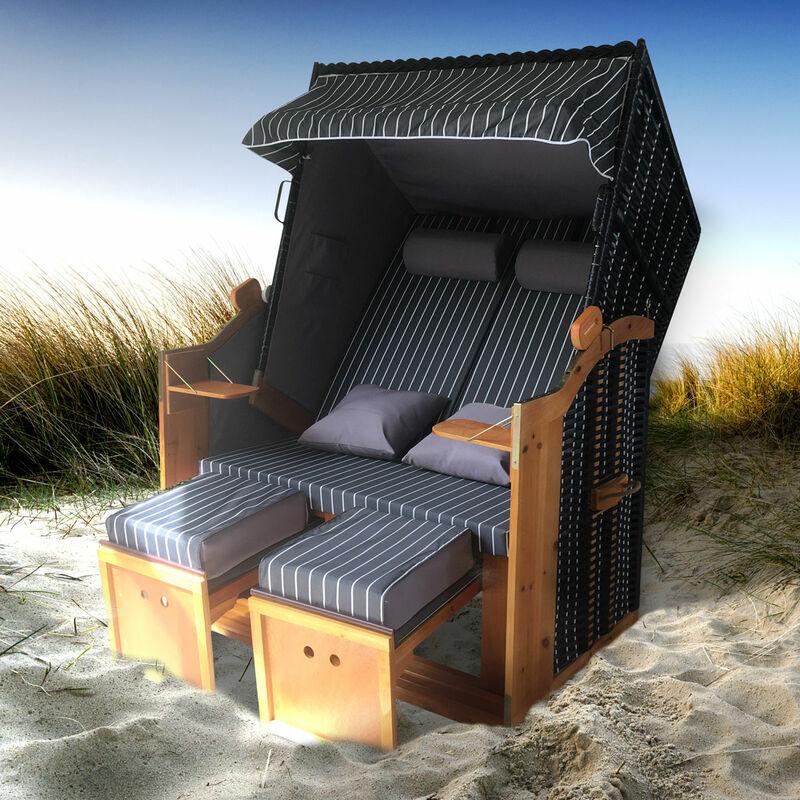 Corbeille de plage mer Baltique bois Deluxe 165x120x90cm Fauteuil-cabine - élégant, confortable - matériaux résistante - blanc anthracite raillé - de