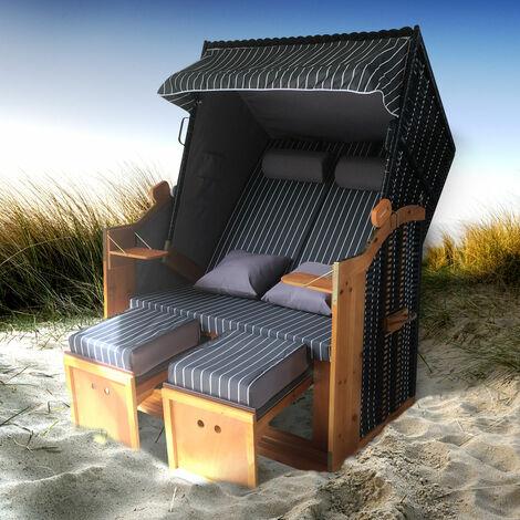 Corbeille de plage mer Baltique bois Deluxe 165x120x90cm Fauteuil-cabine - élégant, confortable - matériaux résistante - blanc anthracite raillé - de BRAST