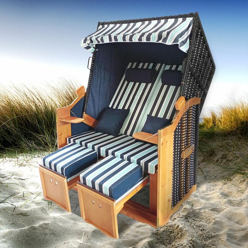Corbeille de plage mer Baltique bois Deluxe 165x120x90cm Fauteuil-cabine - élégant, confortable - matériaux résistante - bleu/bleu clair/blanc raillé