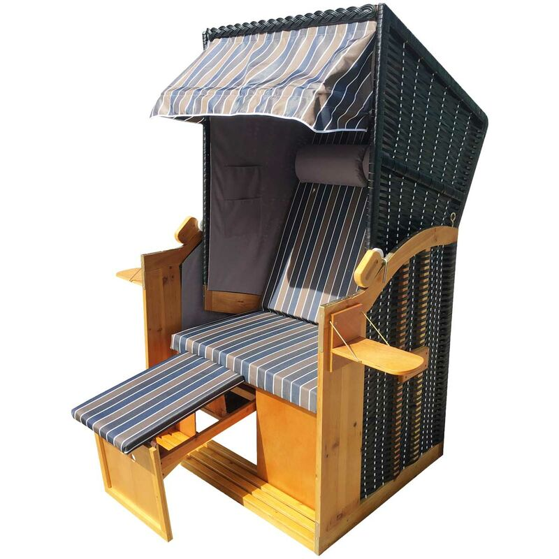 Corbeille de plage mer Baltique Helgoland 160x90x74 2 personnes fauteuil-cabine - élégant, confortable - matériaux résistante - brun/bleu/blanc/gris