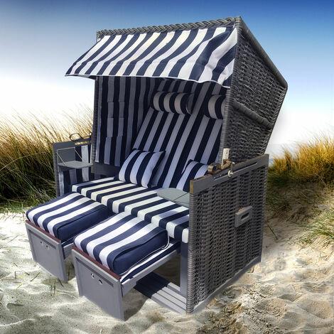 Corbeille de plage mer Baltique Norderney 150x120x73cm confortable à tous les balcons matériaux résistante - bleu/blanc raillé, corps foncé- de BRAST