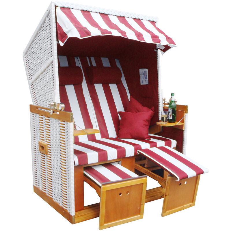 Brast - Corbeille de plage mer Baltique Norderney 150x120x73cm confortable à tous les balcons matériaux résistante - blanc/rouge railée - de