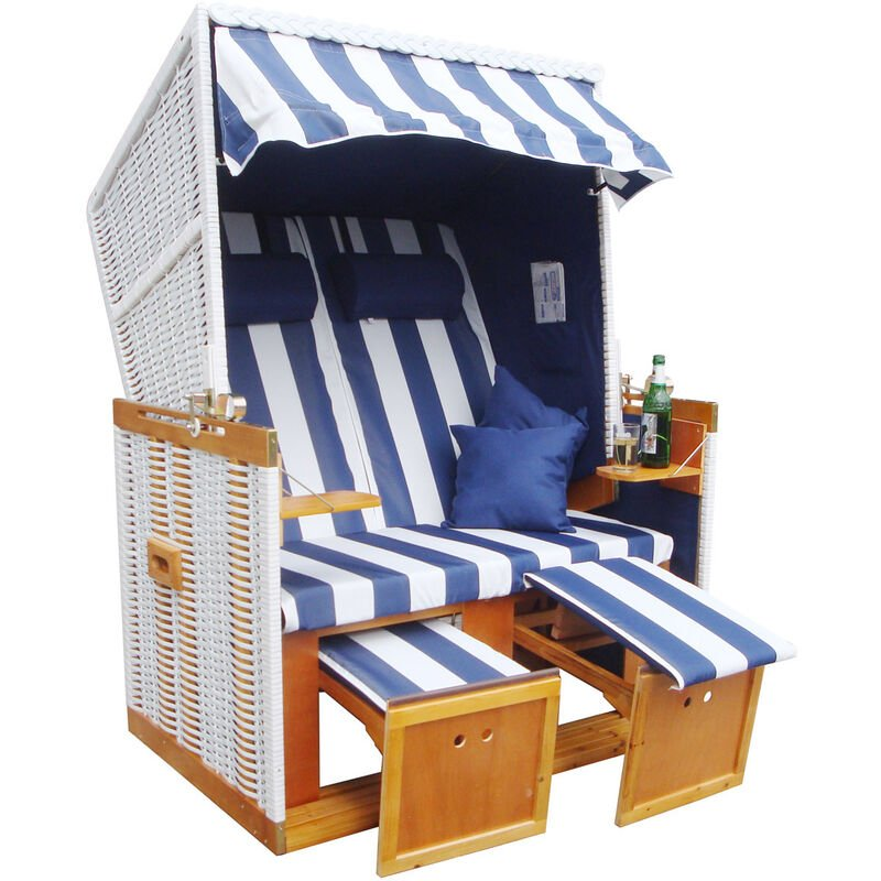 Brast - Corbeille de plage mer Baltique Norderney 150x120x73cm confortable à tous les balcons matériaux résistante - bleu/blanc raillé- de