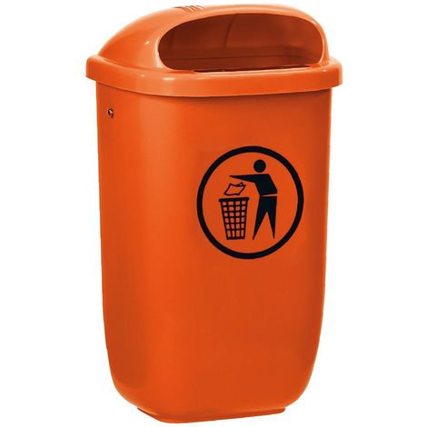 Corbeille | HDPE | orange | 50 litres | 404x248x745 | Classic | 1 pièce | medial