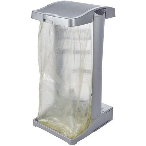 Corbeille verticale Porte-sac à déchets avec compartiment de rangement, 60-120 l, Ole, Argent