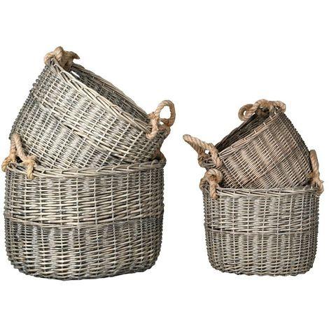 Corbeilles en osier gris et corde (Lot de 4)