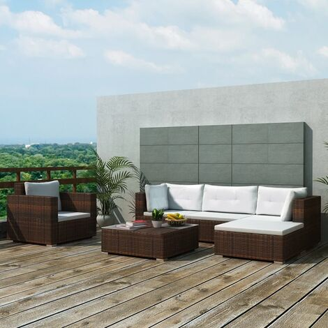 Corbett 6 Seater Rattan Corner Sofa Set by Dakota Fields - Brown