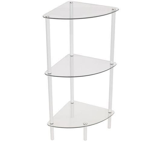 CORBIN - 3 Tier Glass Corner Storage / Display Shelves - White