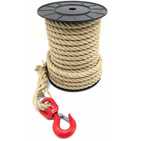 Corde à poulie avec cordage Chanvre D. 20/22 mm x L. 25 mètres + crochet à émerillon C.M.U 1500 Kg avec linguet - D-Work