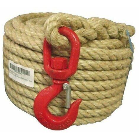 Corde a poulie chanvre monteesur crochet avec linguet d20 long 25m