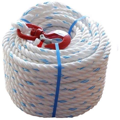 Corde à poulie polypropylène 30 mètres diam 20 - avec crochet