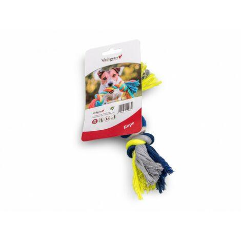 Corde coton 2 noeuds +balle tennis bleu-jaune 20cm