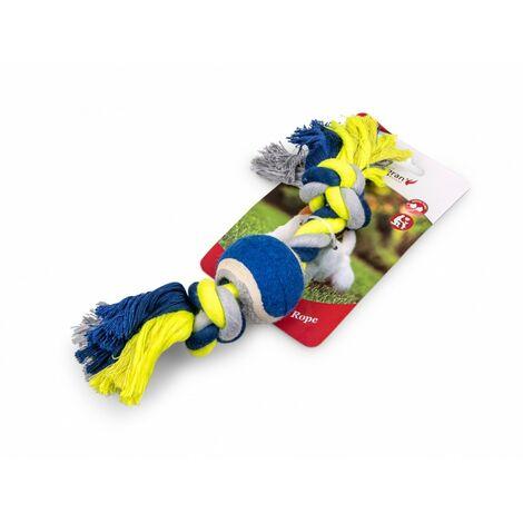 Corde coton 2 noeuds +balle tennis bleu-jaune 26cm