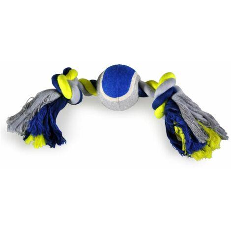 Corde coton 2 noeuds +balle tennis bleu-jaune 30cm