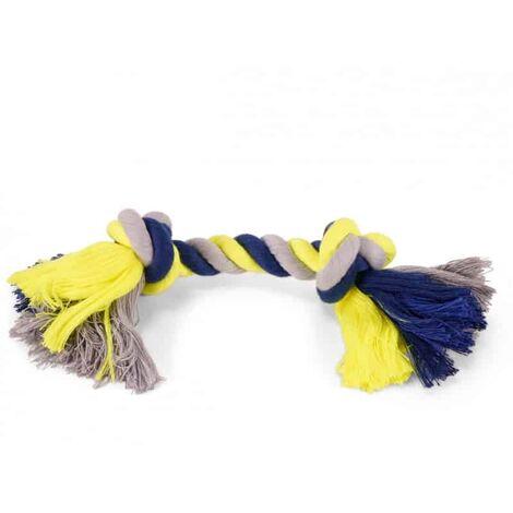 Corde coton 2 noeuds bleu-jaune 125g 28cm