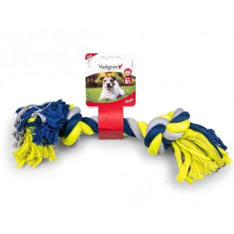 Corde coton 2 noeuds bleu-jaune 270g 36cm