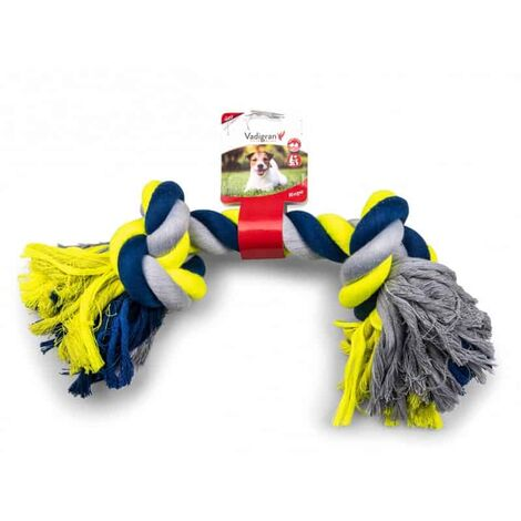 Corde coton 2 noeuds bleu-jaune 700g 48cm