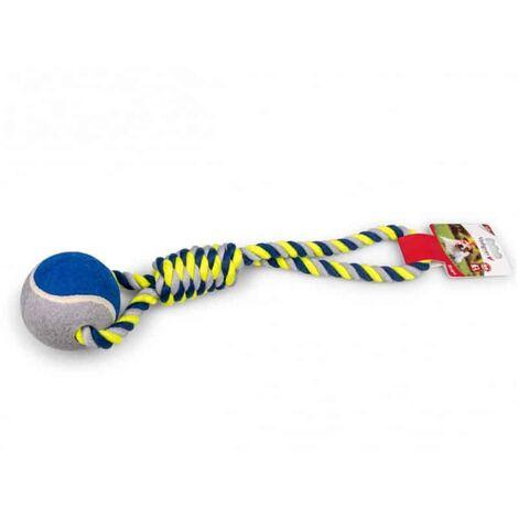 Corde coton+balle de tennis bleu-jaune 440g 45cm