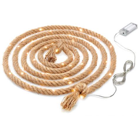 Corde de jute lumineuse 60 LED Décoration de corde de corde de batterie blanc chaud à l'intérieur d'esotec