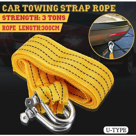 Corde de remorque de secours de cable de remorquage de voiture de 3 mètres 3 tonnes avec 2 crochets antidérapants (crochet en U)