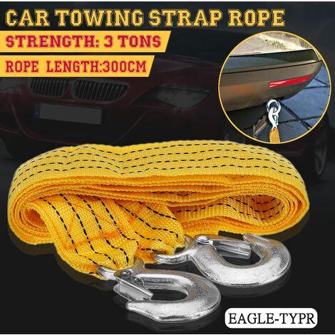 Corde de remorque d'urgence de cable de remorquage de voiture de 3 mètres 3 tonnes avec 2 crochets antidérapants (crochet de bouche d'aigle)