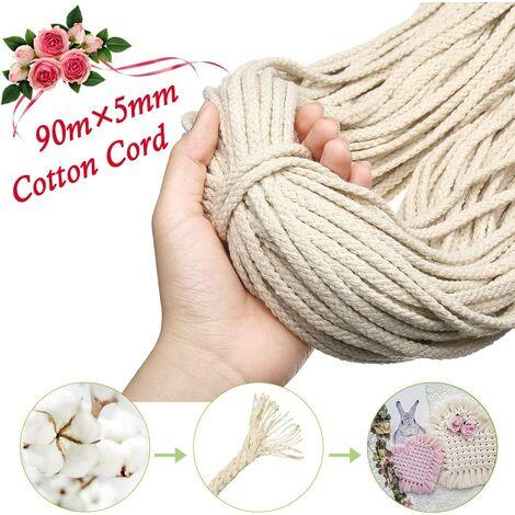 Corde en Macramé, 5mm x 90m 8 Brins Corde en Coton Naturel pour Tricotage Hanging Plant DIY Décoration, Beige
