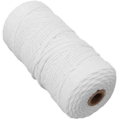 Corde en macramé artisanal en coton blanc beige naturel de 2 mm x 200 m