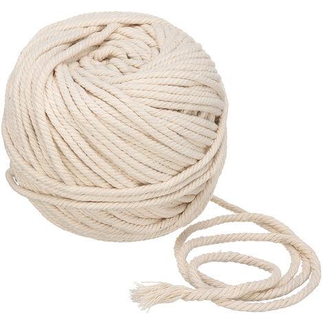 """main image of """"Corde en macramé Corde torsadée en coton beige naturel Artisan à la main 5 mm par 60 m"""""""