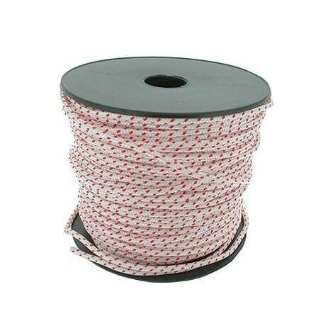 Corde lanceur polyamide blanche avec liseré rouge - Longueur 100 m - Diamètre 4 mm