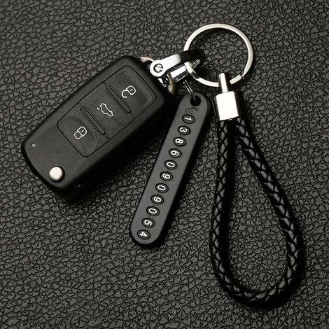 Corde noire Pendentif porte-clés antiperte pour plaque d'immatriculation de voiture Porte-clés porte-numéro de téléphone de véhicule Porte-clés pour intérieur de voiture