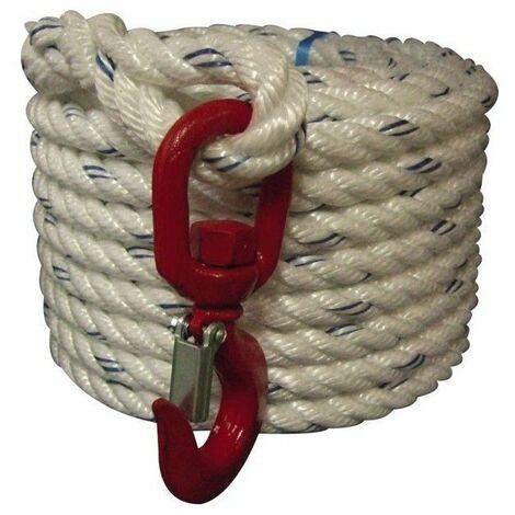 Corde poulie polypropylene+crochet naturel diam 20 - 25m