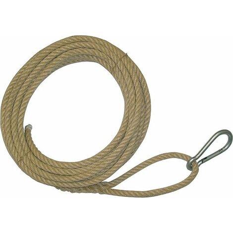 Corde pour montage, boucle d'un cote avec mousqueton, autre bout lisse chanvre 16 mm, longueur 25 m