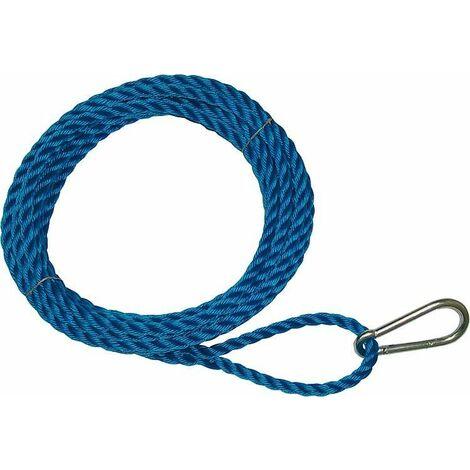 Corde pour montage, boucle d'un cote avec mousqueton, autre bout lisse polypropylene bleu, 16 mm, L 15 m