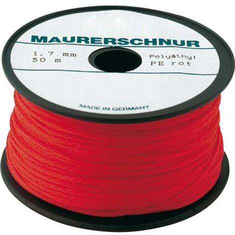 Cordeau de maçon, polyéthylène, Couleur : rouge, Long. 100 m, Résistance mécanique env. 44,6 kg, Ø : 2,0 mm