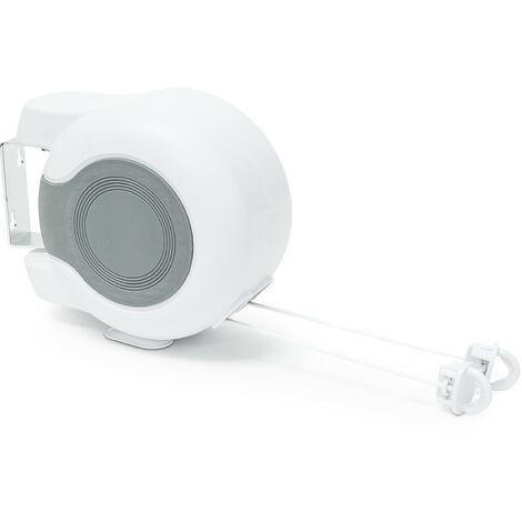 Cordes à linge 26m rétractable avec boîtier séchoir mural automatique 13m, blanc